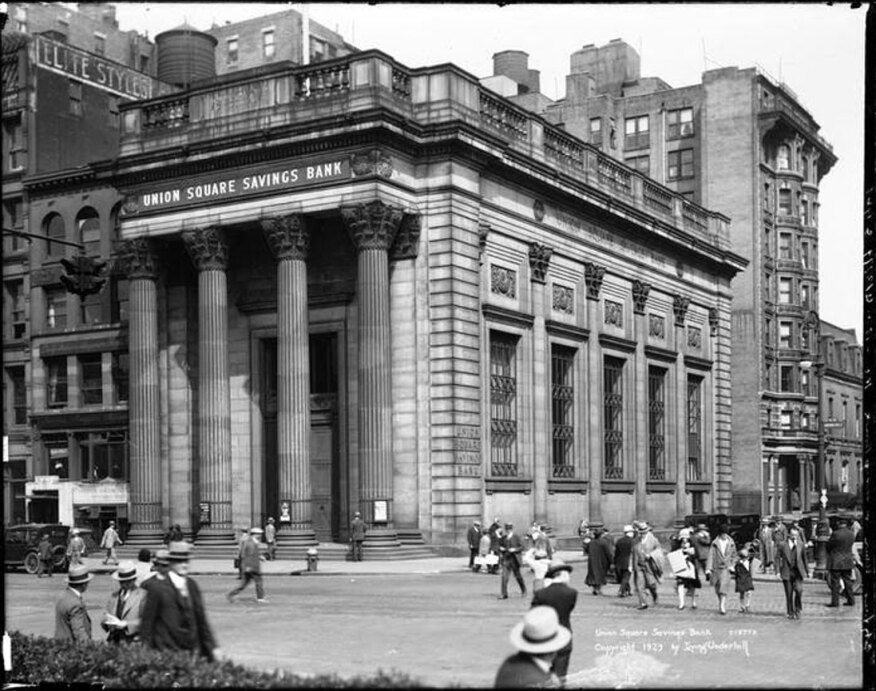 Design by architect Henry Bacon in 1907, this 1929 photo shows the building when it was still the Union Square Savings Bank.