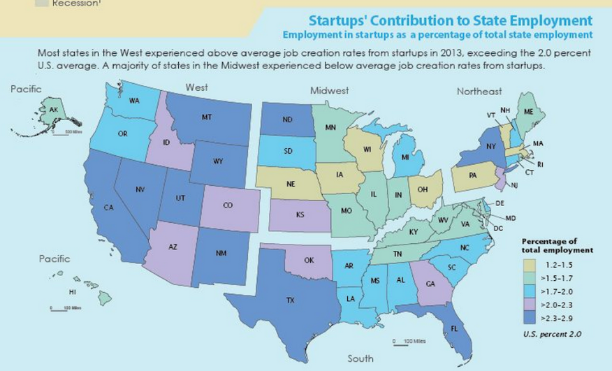 Census's look at start-ups role in job creation, state-by-state.