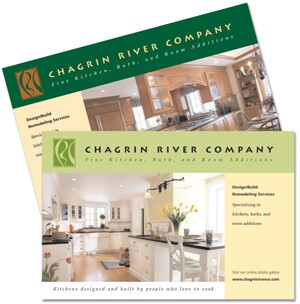Mailed to 5,000 owner-occupied homes within a certain geographic area and with particular financial criteria, this postcard campaign revived Chagrin River Co.'s moribund relationship with past clients and introduced the brand to new prospects. Continuum Marketing Group (www.continuum-mg.com) developed these and other marketing materials.