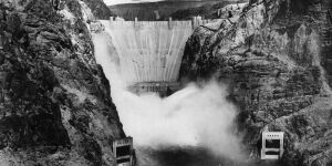 The Boulder Dam on the Arizona - Nevada border (first named Hoover Dam in 1931 when work commenced and again renamed the Hoover Dam in 1947). It harnessed water from the Colorado River for use in power generation.   (Photo by Keystone/Getty Images)