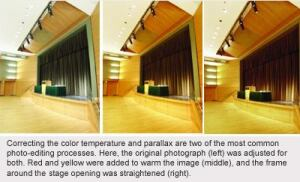 Correcting color temperature and parallax
