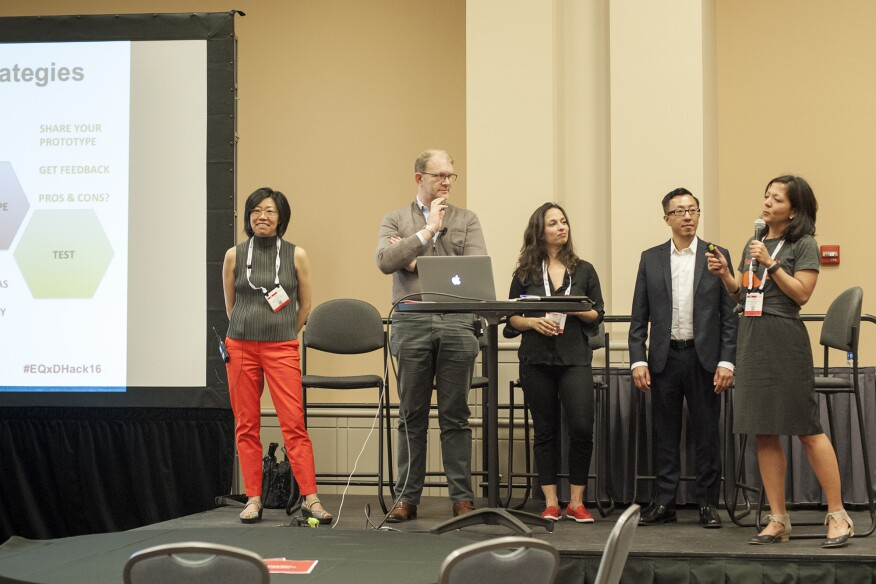 The EQxD hackathon kicked off with inspring talks by Sheng, Bernstein, Mustafa, and Yuen, moderated by Asperin-Clyman.