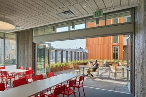 Designed by David Baker Architects, Lakeside Senior Apartments has earned several awards. In addition to the affordable apartments, there are community rooms, a community garden, and lushly landscaped outdoor space. At the LEED Platinum building, solar hot water panels and photovoltaic electric panels reduce the use of energy in the common areas.