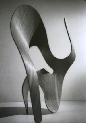 A molded-plywood sculpture by Ray Eames, 1943.
