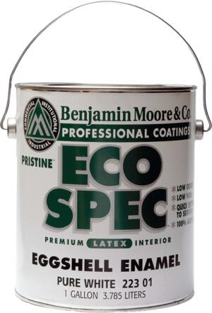 sniff test  Wilson cares about indoor air quality, so he often turns to Benjamin Moore's Eco Spec low-odor paint. Sold in semigloss and flat finishes, the 100 percent acrylic, waterbased paint emits no odors and dries quickly. The company says the product