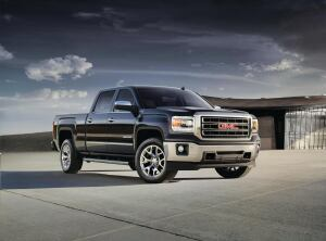 The 2014 GMC Sierra SLT front three quarter view that highlights the  all-new bold and refined design. On location in Mexico.