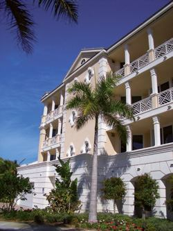 Maisonette-style living at Sea Colony in Vero Beach, Fla., features three levels above parking and a lobby. Developed by Mason Simpson, the property has four units per floor.