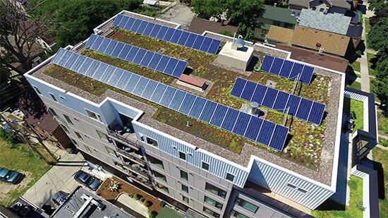 solar array atop multifamily building developed by Dominion