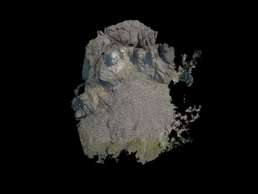 This mesh, created from point-cloud data derived from laser scans of Mount Rushmore, will be rendered as a 3D image for use in CyArk's interactive WebGL model.