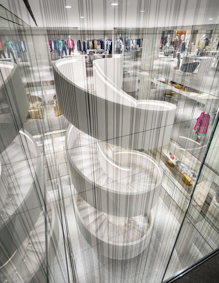 A view of the spiral stair, the sculptural showpiece of the store.