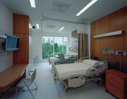 Inpatient rooms for acute cases occupy the top floor.
