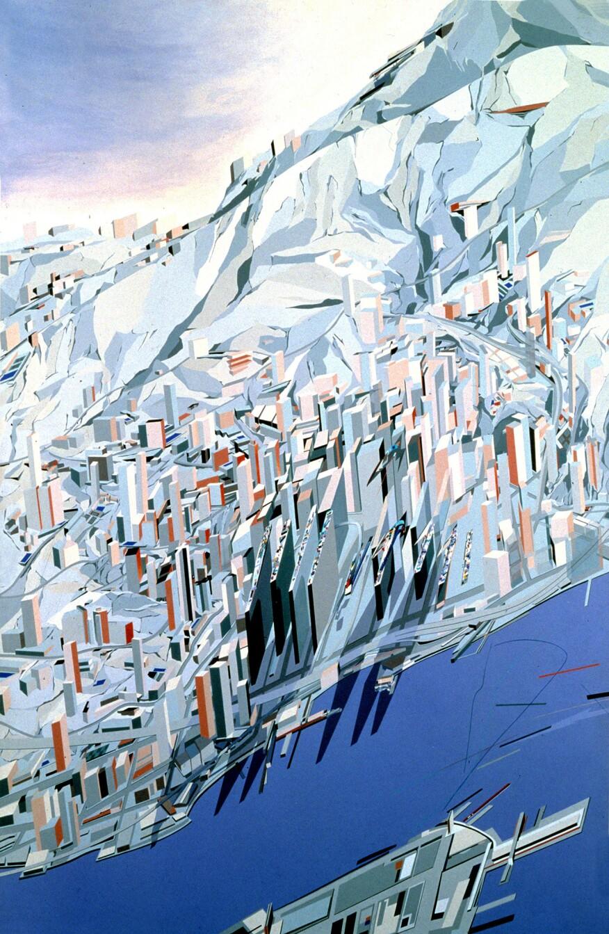 """Hadid's """"The Peak Blue Slabs"""" (1982-83)"""