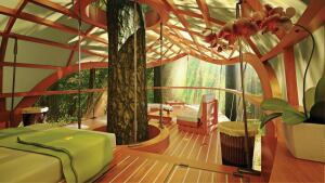 The E'terra Samara Resort features 12 units that are suspended from trees in the Canadian forest.