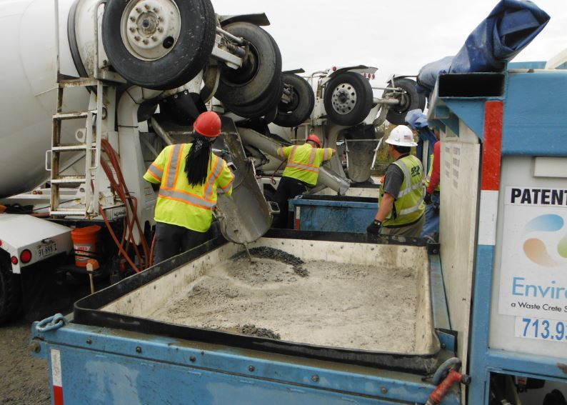 These self-contained concrete chute wash-out systems that Skanska's ERT team uses to recycle leftover concrete, filter, and reuse the water.