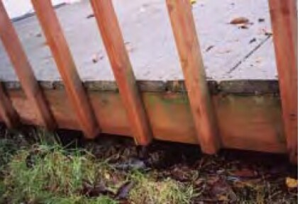 Nailing balusters to the rim joist creates pockets.