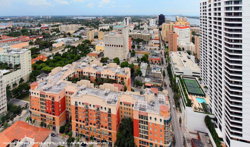 A bird's eye view of West Palm Beach shows the city's urban core, including South Olive Street and Clematis Street.