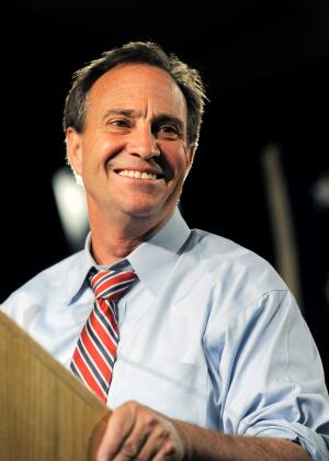 Rep. Ed Perlmutter, D-Colo., smiles while addressing supporters at a post-election party in Denver on Tuesday, Nov. 2, 2010 after he was re-elected to his 7th district seat. (AP Photo/Chris Schneider)