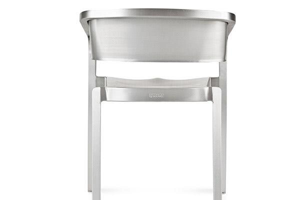 "French designer Jean Nouvel cited a ""philosophy of nothingness"" as the drive behind this streamlined and lightweight version of Emeco's 1006 Navy Chair, first released in 1944. SoSo is made of 80% recycled, hand-brushed aluminum. It measures 21"" wide by 16"" deep by 31"" high, and weighs 8 pounds. emeco.net"