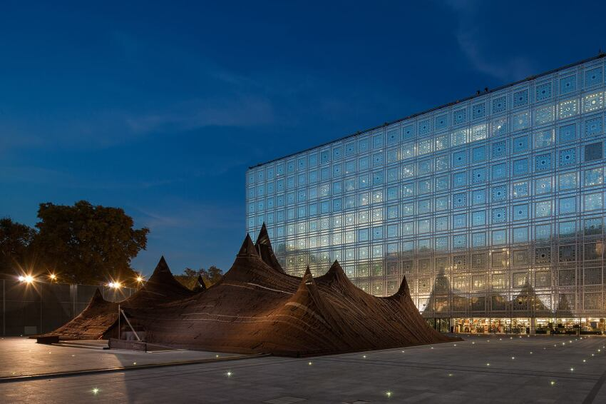 Kilo's Organic Moroccan Tent Juxtaposes with Jean Nouvel's Contemporary Architecture