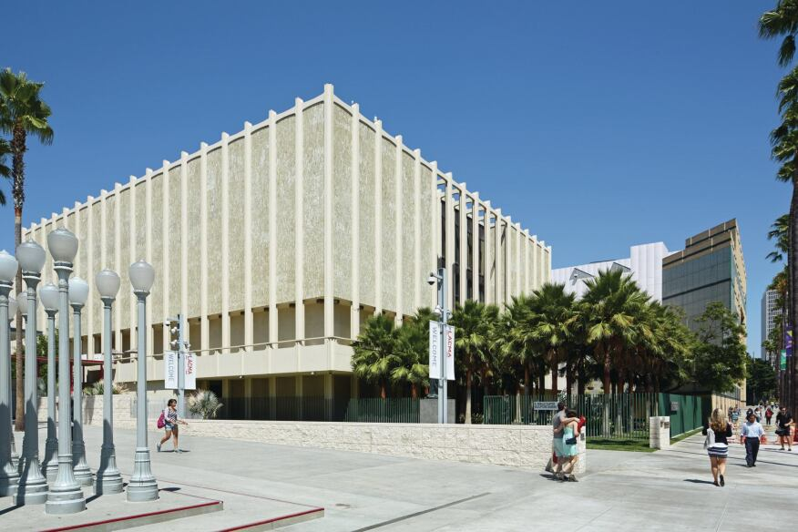 The Ahmanson Gallery, one of three buildings that William Pereira designed for LACMA in 1965.