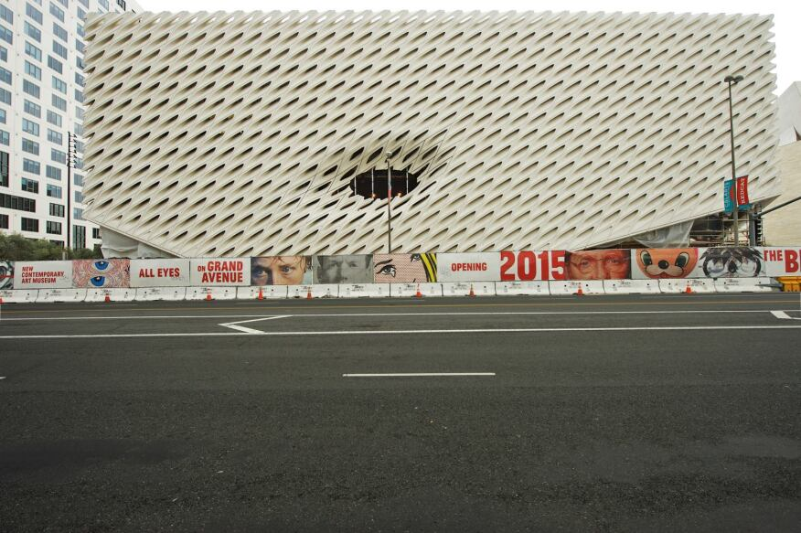 The Broad's façade lifts at its Grand Avenue corners to allow entrance into the building.