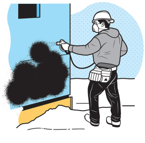 Liquid vapor barriers are sprayed onto the exterior of a home to make it air and water tight.