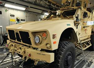 The Department of Defense now uses 7-inch round LED headlamps to achieve longer life, less energy consumption, and a lower heat signature on its vehicles. Shown here are Truck-Lite lamps on an M-ATV, a mine-resistant, ambush-protected, all-terrain vehicle. Photo: Truck-Lite.