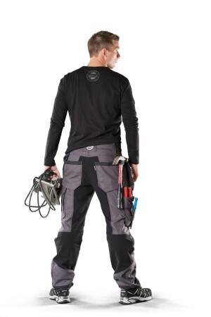 Nordic Carpenter Pants. The black material in the crotch and on the back of the knees and calves is stretchable.