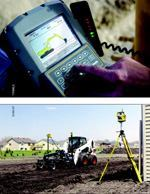 Top: Graphical displays help equipment operators to increase their ability to work independently. Bottom: Lasers can be used for guidance on nearly any attachment used for grading or digging.