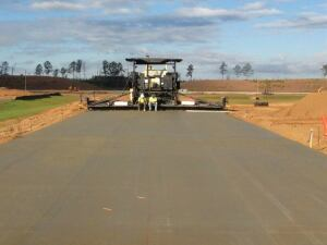 Paving wide long strips results in the best finished products.