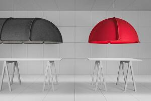 Sometimes inspiration strikes very close to home or, in this case, to the conference room. When Swedish design firm Form Us With Love moved into an open-plan studio with high ceilings, they realized that they would need sound dampening around the conference table. Thus, Hood was born. The LED luminaire acts as both a sound absorber and a lighting source. The 635mm-tall modular fixture ranges in lengths from 1,200mm to 3,000mm; it can be manufactured in larger sizes as needed. formuswithlove.se