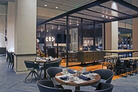 Marriott Waterfront Reinvents Restaurant and Lounge with Banker Wire Mesh