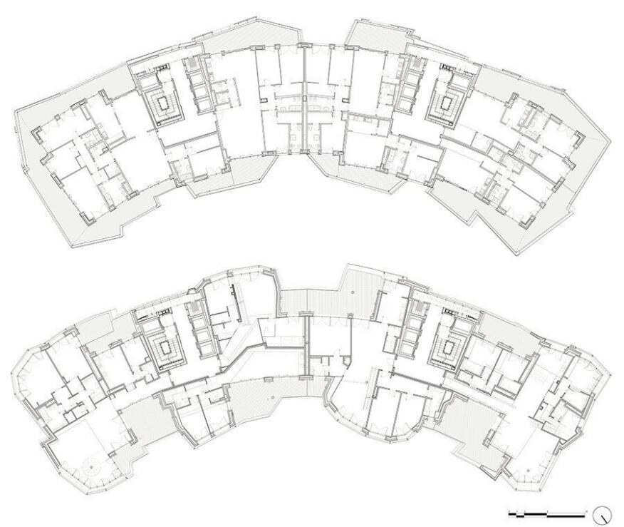 Typical floor plans for the Libeskind-designed buildings.