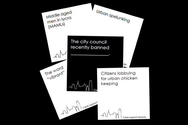 A typical hand in Cards Against Urbanity encourages players to get creative and/or silly with their responses (in white) to prompts (in black).