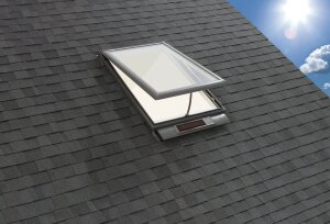 Velux powers its wireless Fresh Air vented skylight with a battery-powered operator and control system that's charged via solar energy. An integrated sensor closes the skylight when it rains. The system is available with factory-installed blinds. The product and its installation qualify for a 30% federal tax credit for renewable technology through Dec. 31, 2016. Velux,www.veluxusa.com; 800.888.3589.