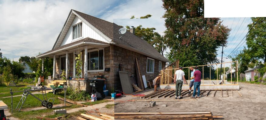 A few years ago, Kate Daughdrill (left) purchased the house and lot next to 3347 Burnside Ave. and combined it with adjacent lots to create Burnside Farm, a community farm where neighbors collectively work the land and share the goods. After hearing about Archolab's interest in converting the fire-ravaged property into a year-round greenhouse, owner Andy Malone (third from left) sold the property to Daughdrill for $1 for inclusion into the farm. Malone, who resides across the street, is an artist who had bought the property with the intention to repurpose it as a place of artistic or architectural intervention.