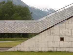 Sverre Fehn's Glacier Museum in Fjaerland, Norway.