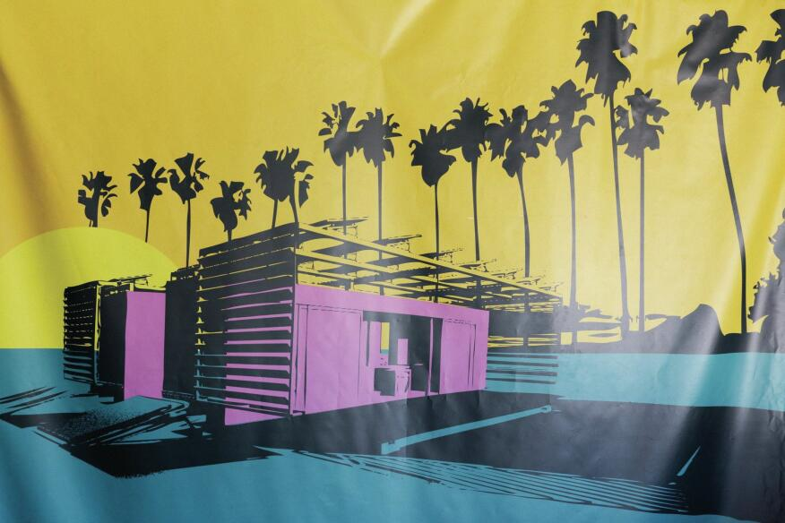 A rendering of DALE, by the Southern California Institute of Architecture/California Institute of Technology team, as seen on a competition poster.