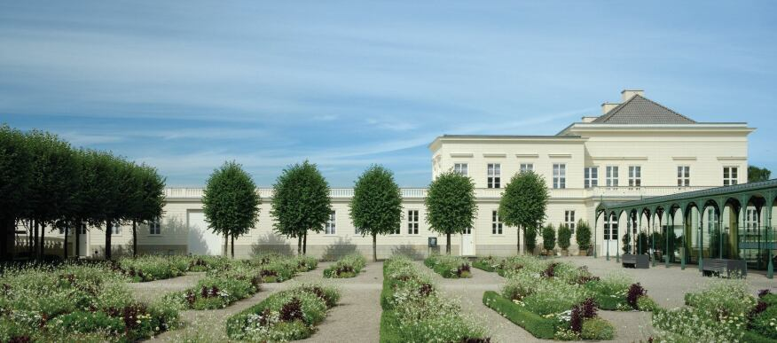Schloss Herrenhausen is surrounded by many types of gardens, including this arrangement of fig trees and flower beds, which was restored to its original design by landscape architecture firm Hager Partner in time for the Expo 2000 world's fair.