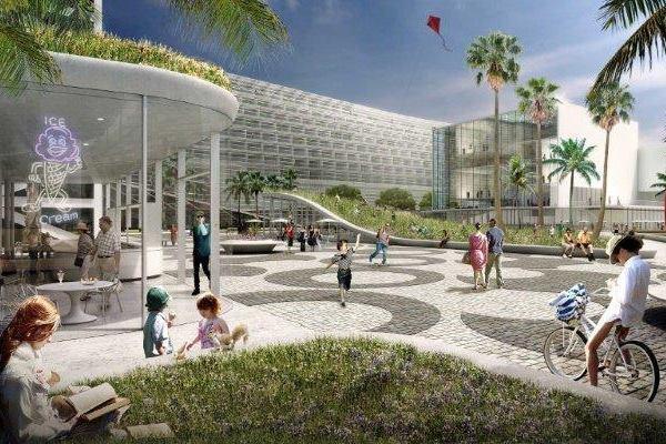 Miami Beach Square Convention Center facing public park.