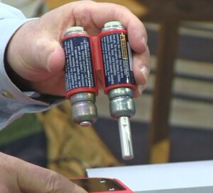 The dual-sided cartridges used to drop the Bosch blade below the table will cost $99, or about $50 per activation. The one on the right has already been triggered. The one on the left is ready to go.
