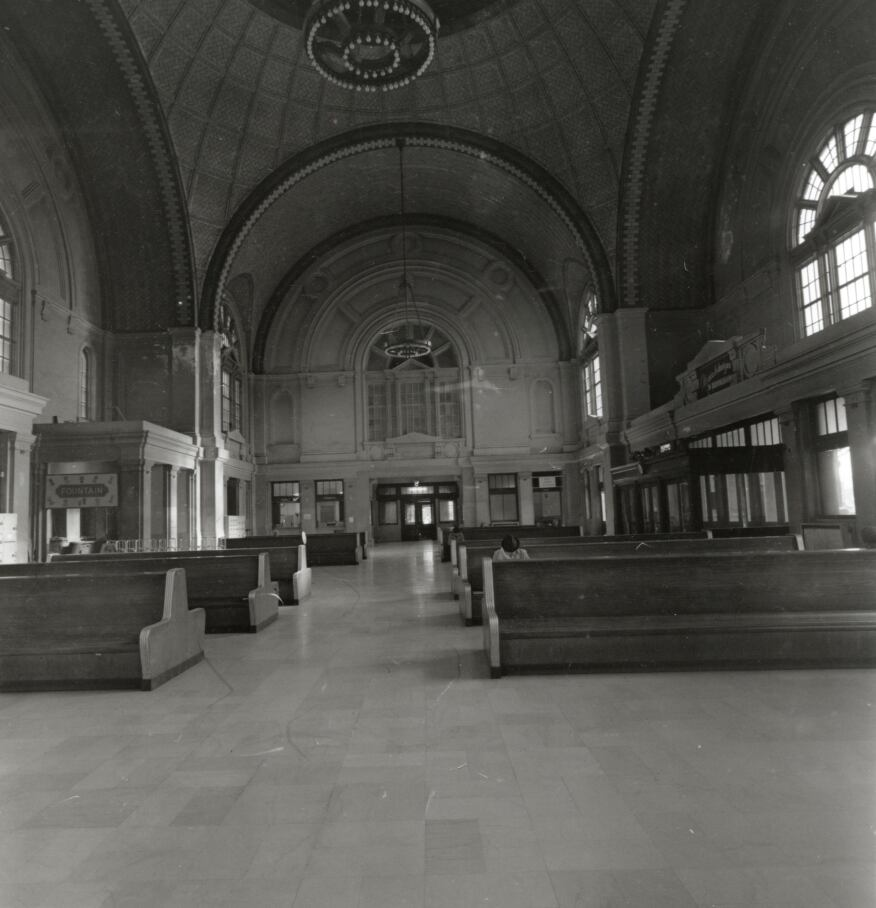 "In segregated Birmingham, the train station had two waiting rooms, one for white travelers and one for African-American travelers. The Main Lobby and ""white"" waiting room featured a dome with detailed tilework and ornamental glass. Photographed by Bill Ricker in 1969."