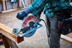 "At 90° the saw cuts up to 3-7/8"" deep. At 45° the depth of cut is 2-3/4""."