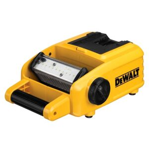 The area light has a handle, pivoting LED light bar, and a place to put an 18- or 20-volt max DeWalt battery.