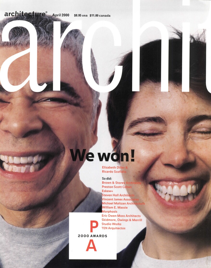 "Elizabeth Diller and Ricardo Scofidio on the 2000 cover of ""Architecture Magazine"" for their Progressive Architecture Award win."