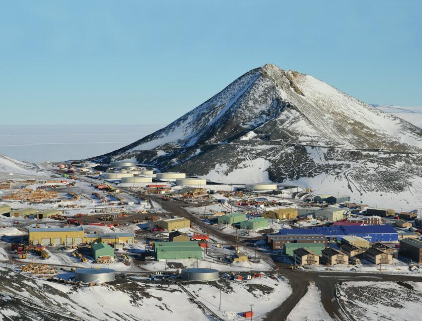 The McMurdo site, set up against Observation Hill, is a haphazardly planned warren of buildings.