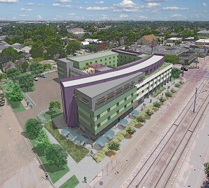 New Hope Housing has broken ground on NHH at Harrisburg, the developer's first mixed-used development. Designed by GSMA, the Houston community will offer 175 studio apartments and retail space. It will also serve as the new offices for New Hope.