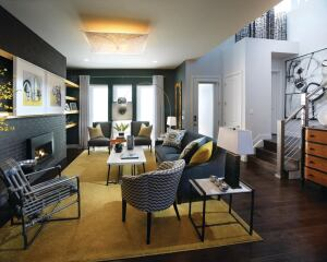 Black bricks lend a horizontal feel to the family room's hearth area.