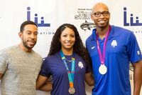 Local kids learn to swim with Ludacris, Olympic athletes in 'Make a Splash' tour