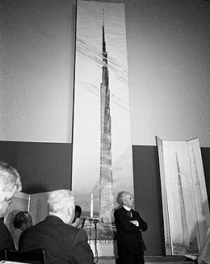 Press conference unveiling The Mile-High Illinois (Chicago, Illinois). Unbuilt Project. 1956. The Frank Lloyd Wright Foundation Archives